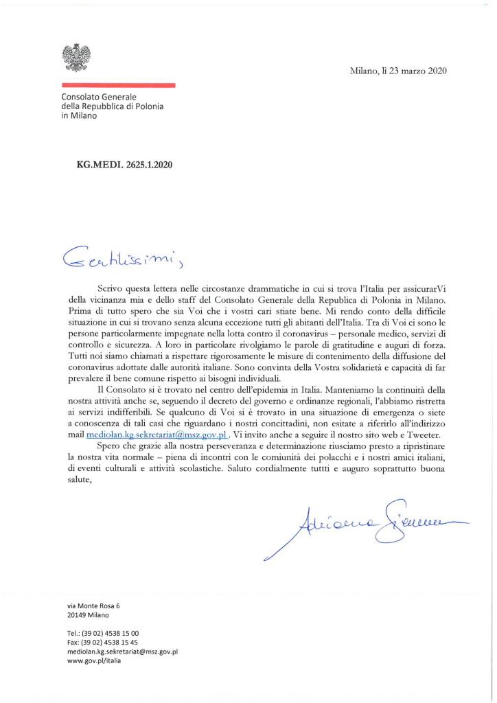 lettera_Console Generale A. Siennicka_23.03.2020-1