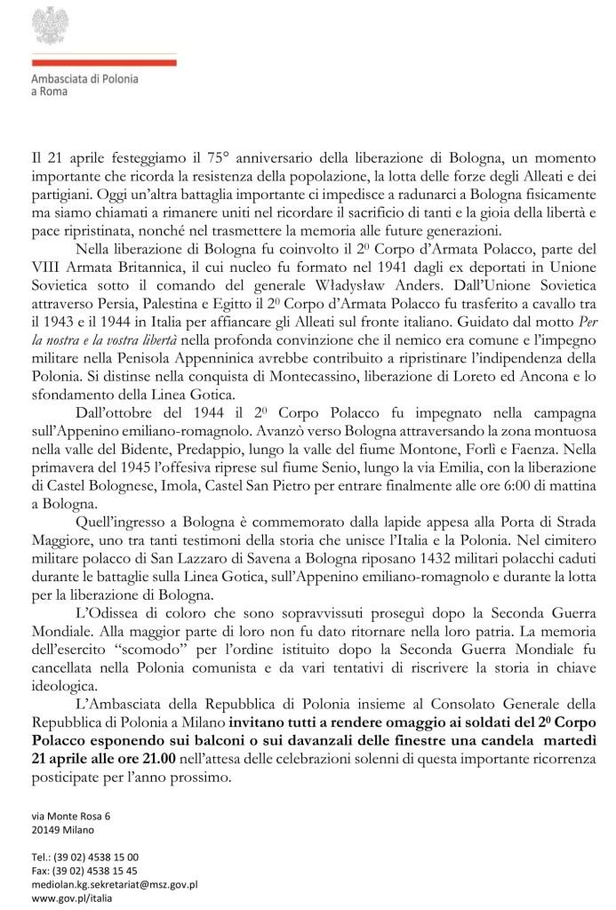 Ambasciata 2 della Polonia_comunicato stampa_Bologna 21.04.2020