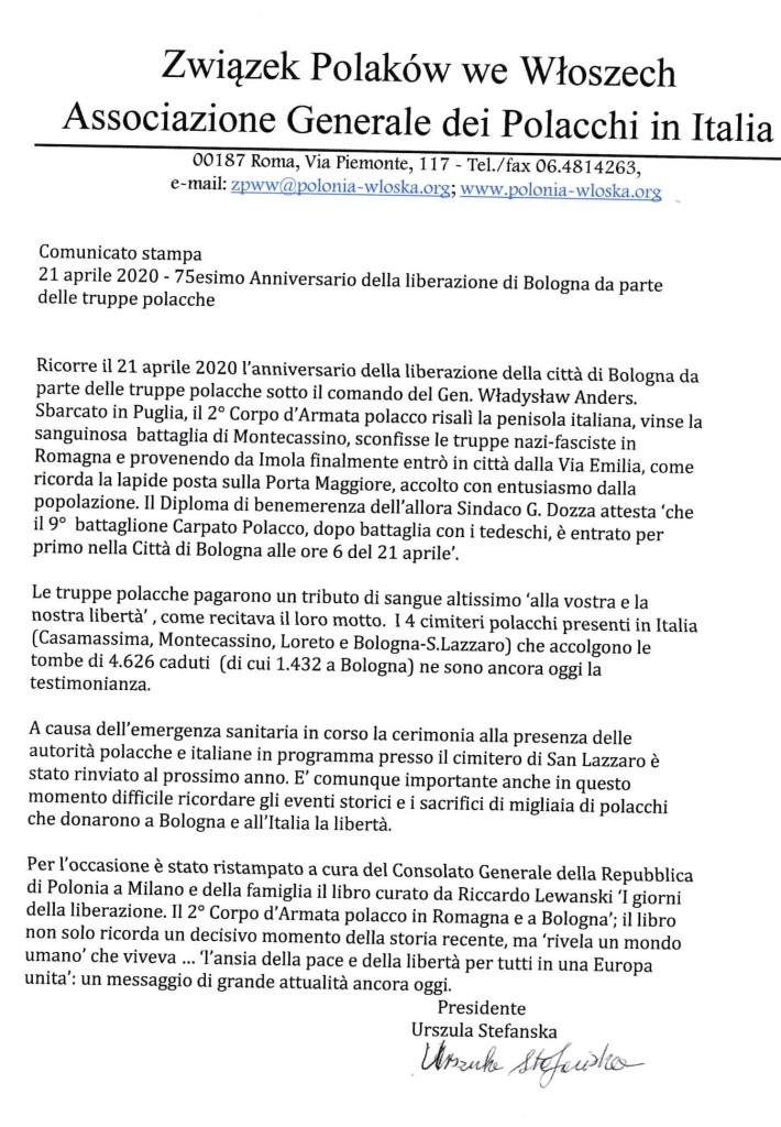 Comunicato 2 Stampa Associazione Polacchi Bologna 21_04_2020