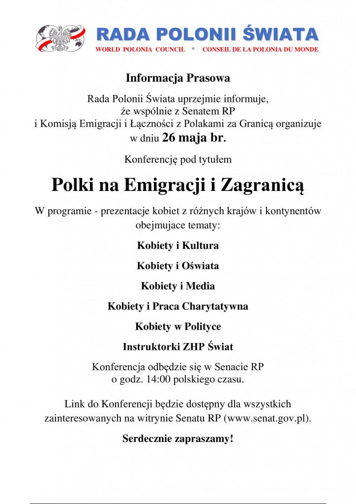 RPS Konferencja Kobiet Informacja Prasowa na firmówce tb mk-1