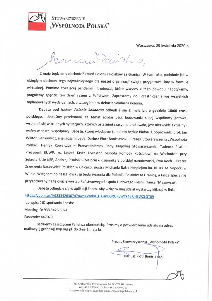 Zaproszenie na debatę Polonia Solidarna-1